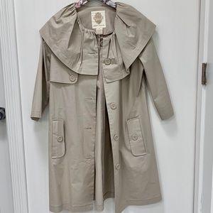BB Dakota Trench Coat with Ruffle Collar 3/4 Sleev
